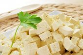 foto of soybean milk  - diced tofu in a plate - JPG