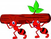 foto of fire ant  - Vector illustration of Team of ants cartoon carries log - JPG