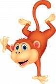 foto of chimp  - Vector illustration of Cute monkey cartoon standing in its hand - JPG