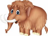 image of prehistoric animal  - Vector illustration of Cute mammooth cartoon isolated on white background - JPG