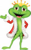 image of prince charming  - Vector illustration of Cute king frog cartoon with presenting - JPG