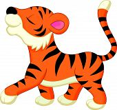 image of cute tiger  - Vector illustration of Cute tiger cartoon isolated on white background - JPG