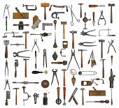 stock photo of hammer drill  - vintage collectible tools collage over white background - JPG