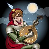 stock photo of minstrel  - Illustration with minstrel in armour and red coat play on lute and sing serenade to his damsel drawn in cartoon style - JPG