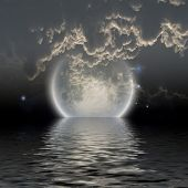 stock photo of natural phenomena  - Moon over water - JPG