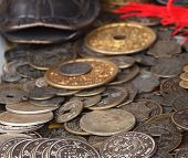 foto of copper coins  - A collection of antique Chinese silver and copper coins - JPG