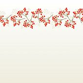 rowan berry mountain ash berries beautiful delicate autumn season seamless top horizontal border