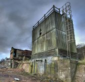 stock photo of derelict  - Derelict factory buildings in Kidderminster - JPG