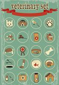 picture of bag-of-dog-food  - set of veterinary vector icons - JPG