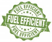 image of fuel efficiency  - Fuel efficient grunge green vintage round isolated seal - JPG