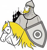 image of paladin  - Vector Illustartion of russian historical cavalier  - JPG