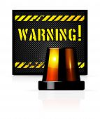 foto of flashers  - Vector warning background with steel background and flasher - JPG