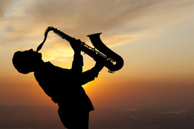 stock photo of saxophone player  - Saxophonist - JPG