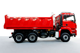 foto of dump_truck  - Red tipper dump truck for construction work - JPG