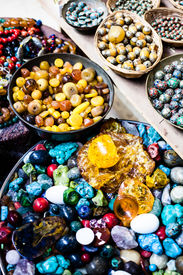 stock photo of heliotrope  - Colorful gemstones on sale at a flea market in Jerusalem Israel - JPG