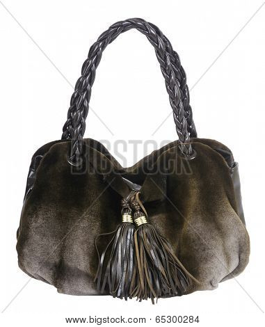 fur handbag isolted on white