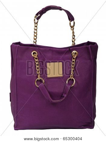 violet handbag isolated on white