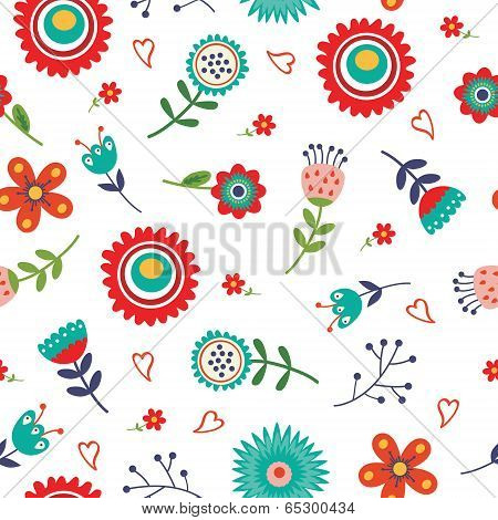 Floral seamless pattern with bright colors