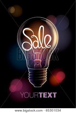 Sale design template with light bulb. Vector illustration