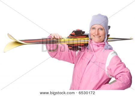 Mulher com esqui