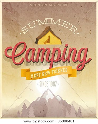 Summer Camping poster. Vector illustration.