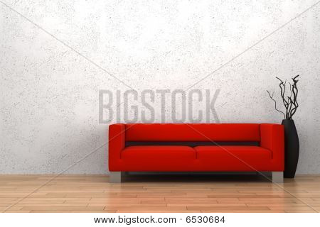 red sofa and vase with dry wood in front of white wall