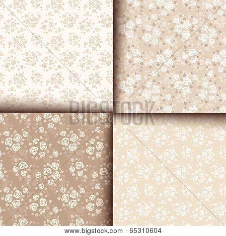 Set of four seamless patterns with roses. Vector eps-10.