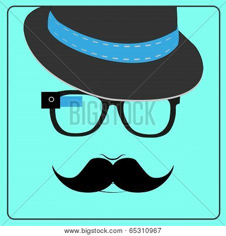 Hipster wearing smart glasses