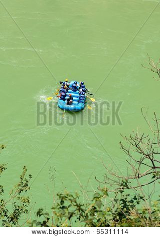 Rafting boat at river Gang near Rishikesh