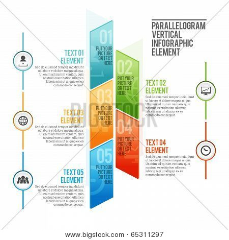 Parallelogram Vertical Infographic Element