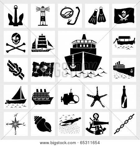Vector icon set nautical