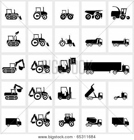 Vector icon set cars and tractors