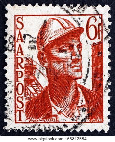 Postage Stamp Saar, Germany 1948 Miner