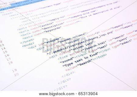 Code Of Html Language On White Background