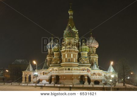 Intercession Cathedral St Basils In Night