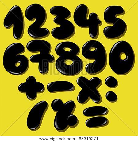 Black bubble numbers set