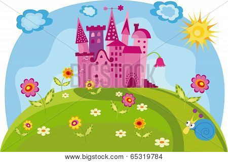 Colorful Illustration With Princess Castle