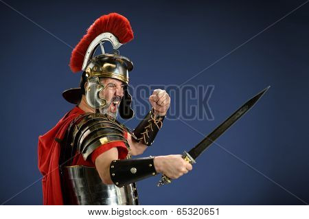 Roman centurion screaming and using sword
