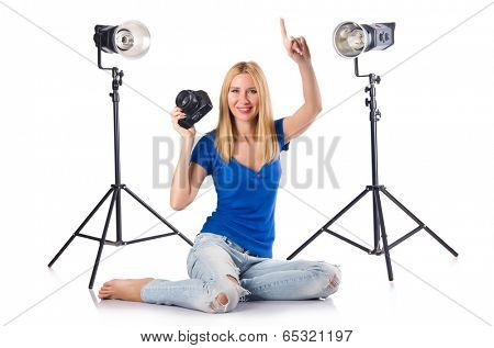 Woman with camera isolated on the white