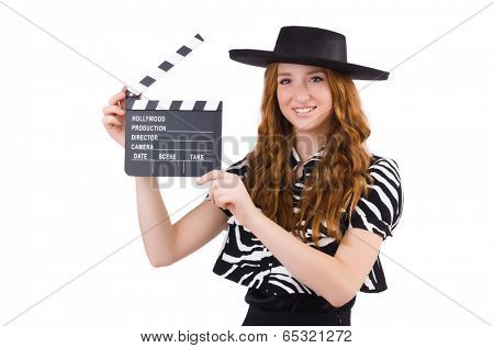 Young woman with movie clapboard isolated on white