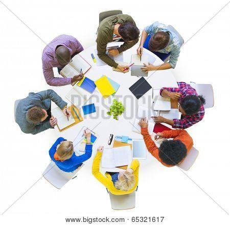 Group of Diverse People Brainstorming in Team
