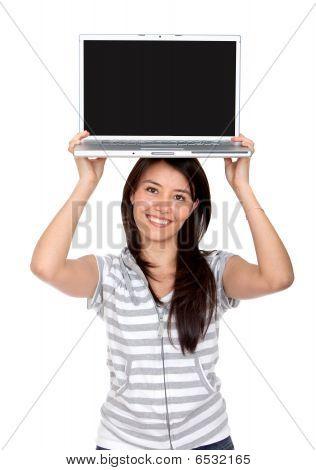 Woman Displaying Laptop