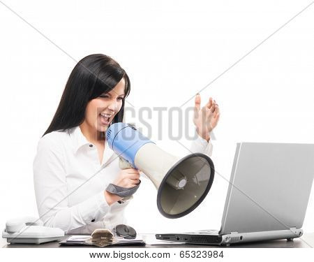 Angry and furious business woman screaming isolated on white