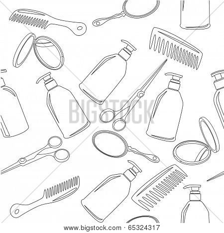 Seamless black-and-white background with hairdressing accessories