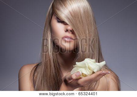 Beautiful Blond Girl. Healthy Long Hair.