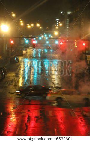 Night Scene Of Wet City Streets