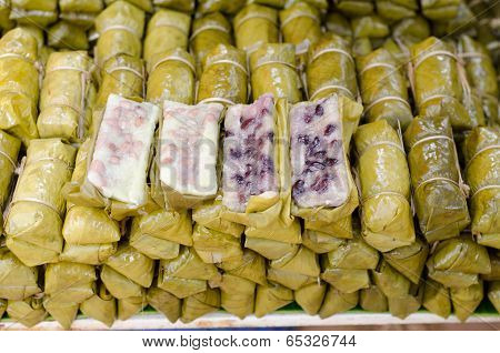 Stuffed Glutinous Rice In Banana Leaf (thai Dessert Name Kaowtommad )