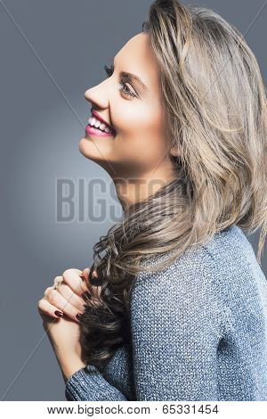 Smiling Happy Brunette Woman Profile Portrait