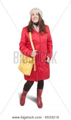 Girl  In Wintry Coat  With Handbag