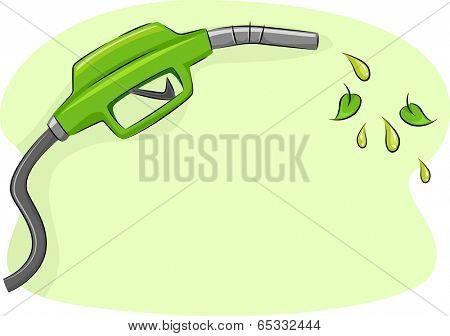 Illustration Featuring a Gas Pump Nozzle Spouting Biofuel